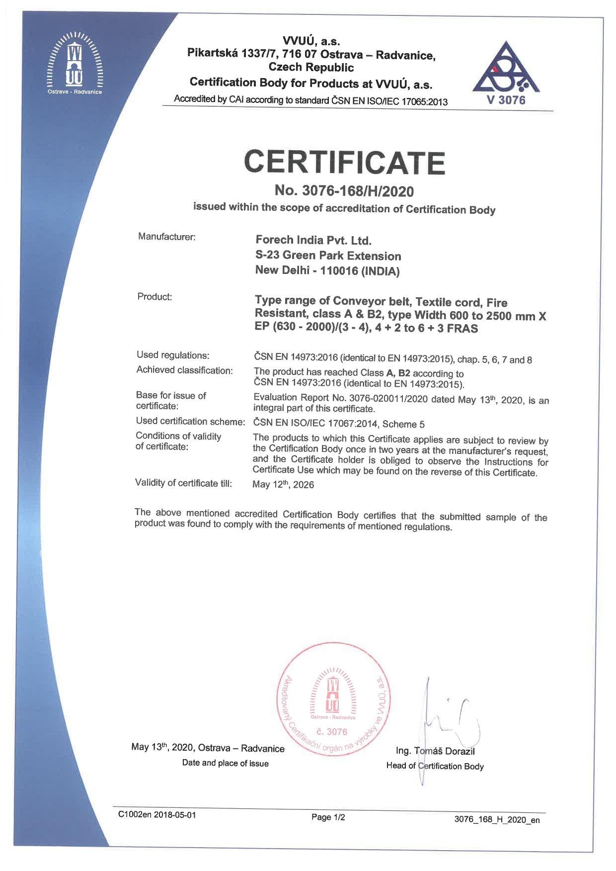 Scan of EN 14973:2016 certificate