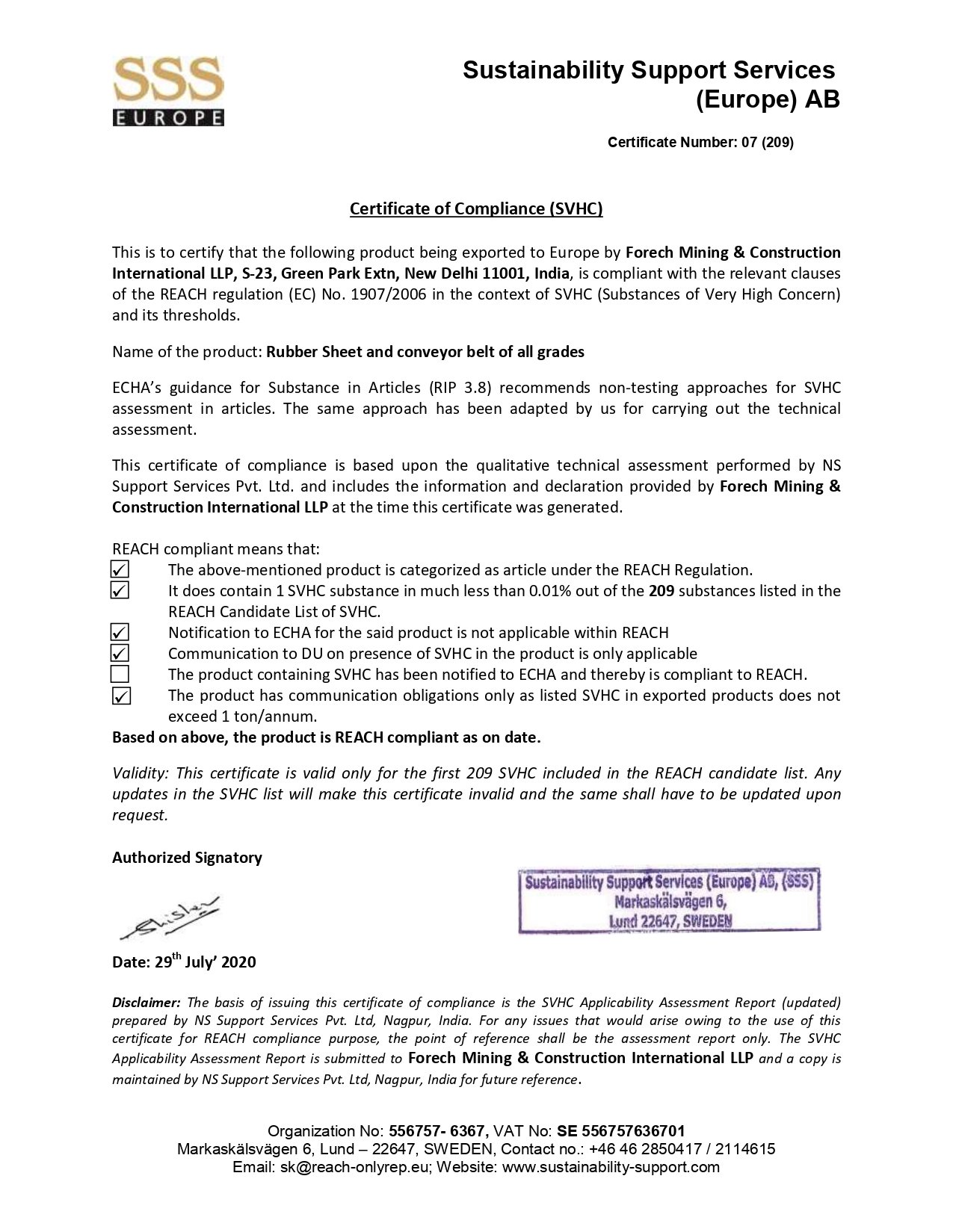 Scan of Certificate of compliance-Forech Mining & construction Int. LLP certificate
