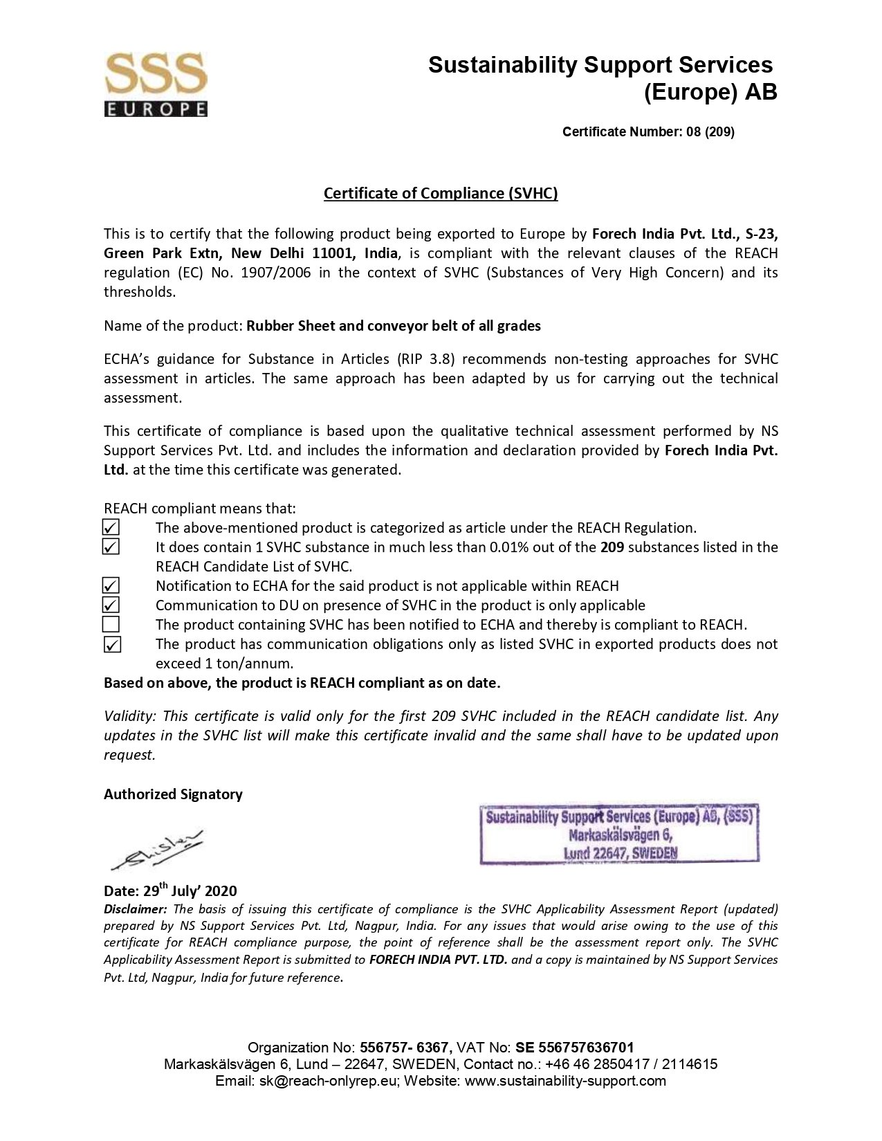 Scan of Certificate of Compliance- Forech India Pvt. Ltd. certificate