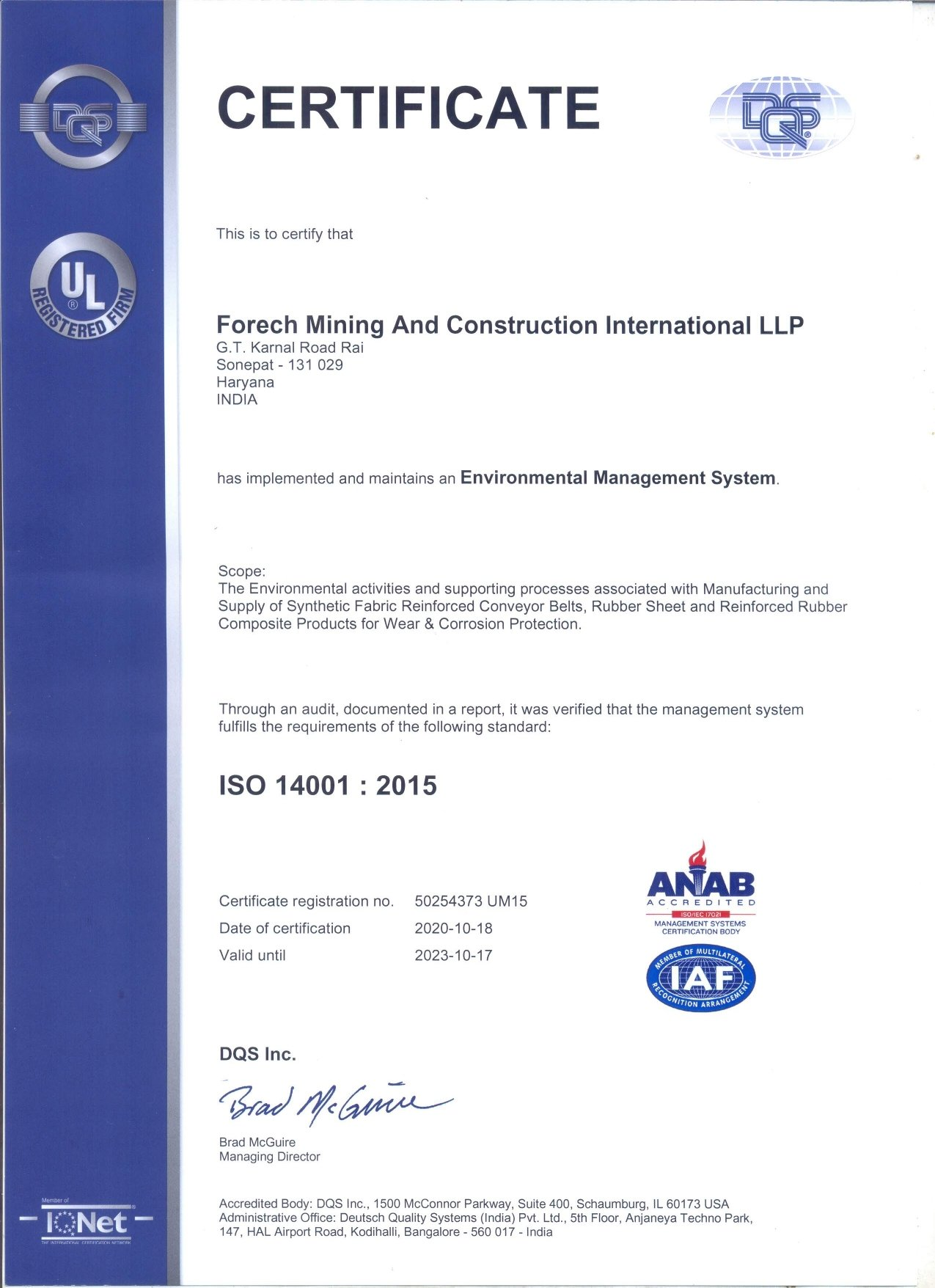 Scan of ISO 14001:2015 - FMCI certificate
