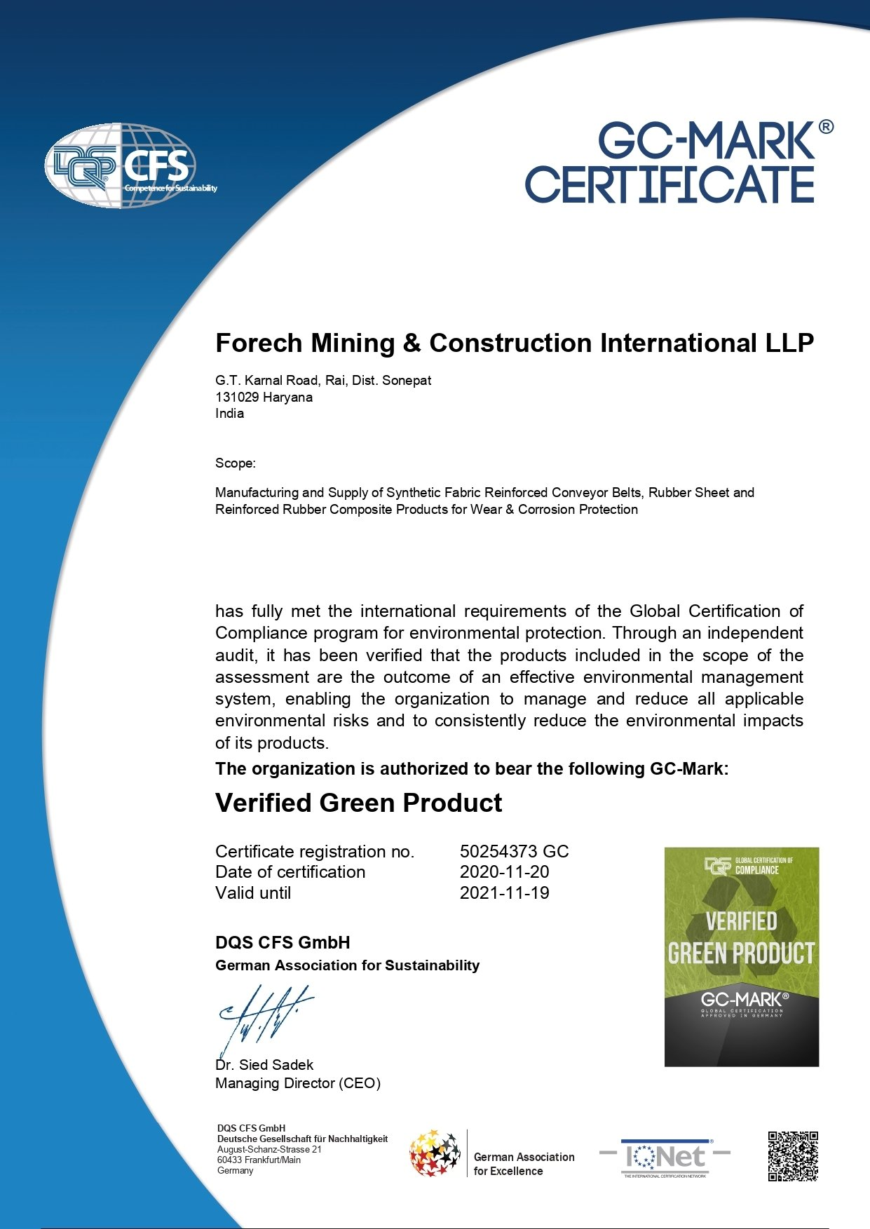 Scan of Green Product Certificate- FORECH MINING & CONSTRUCTION INTERNATIONAL LLP certificate