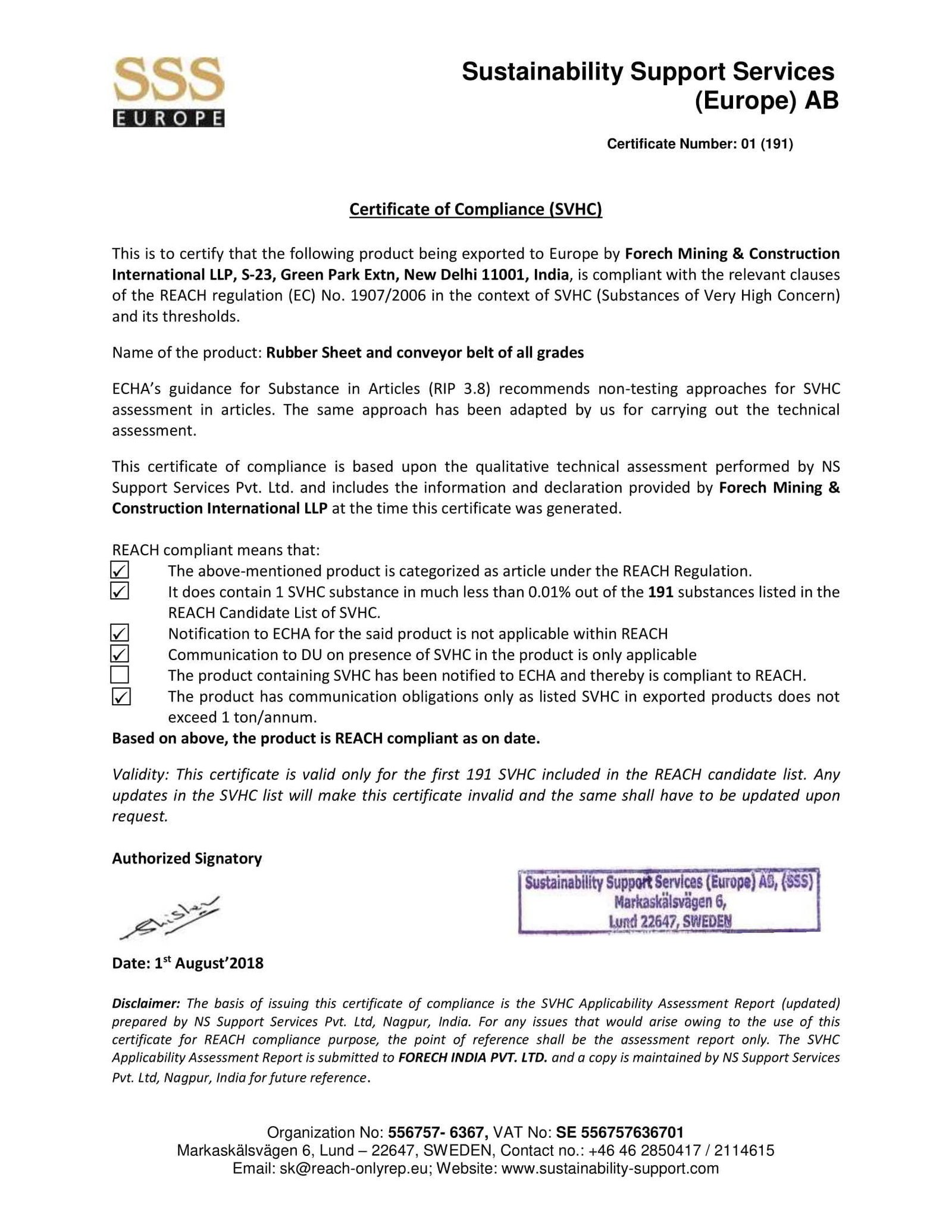 Scan of REACH for Forech Mining & Construction Int. LLP certificate
