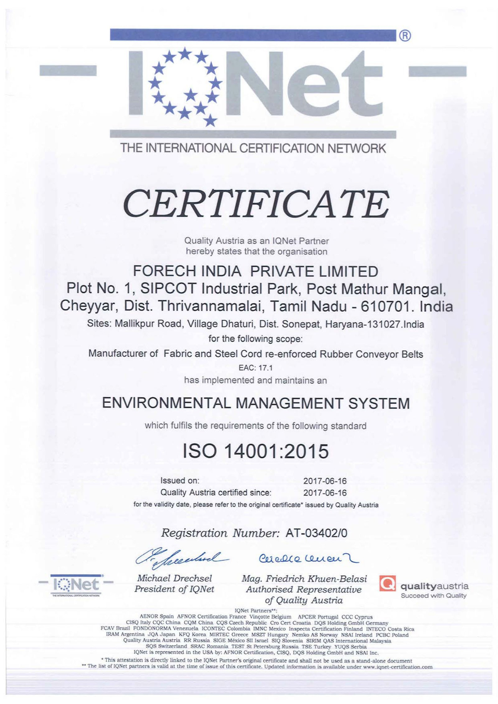 Scan of ISO 14001 : 2015 certificate