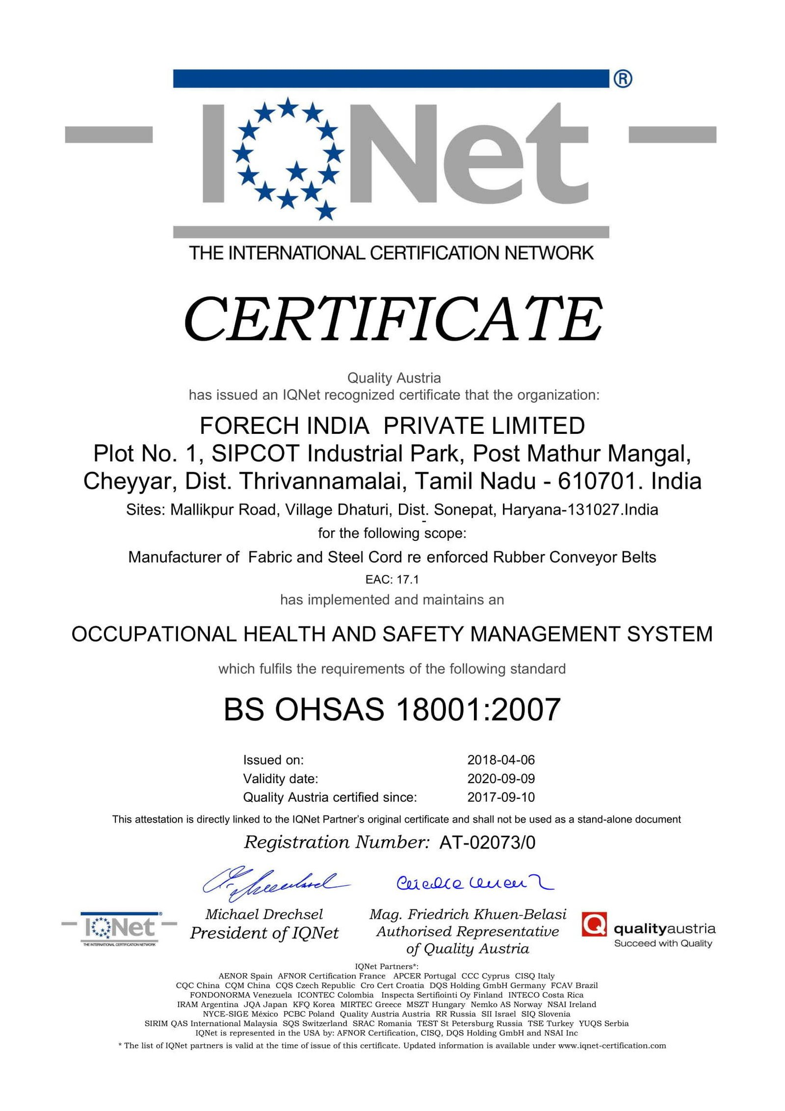 Scan of OHSAS - 18001 certificate