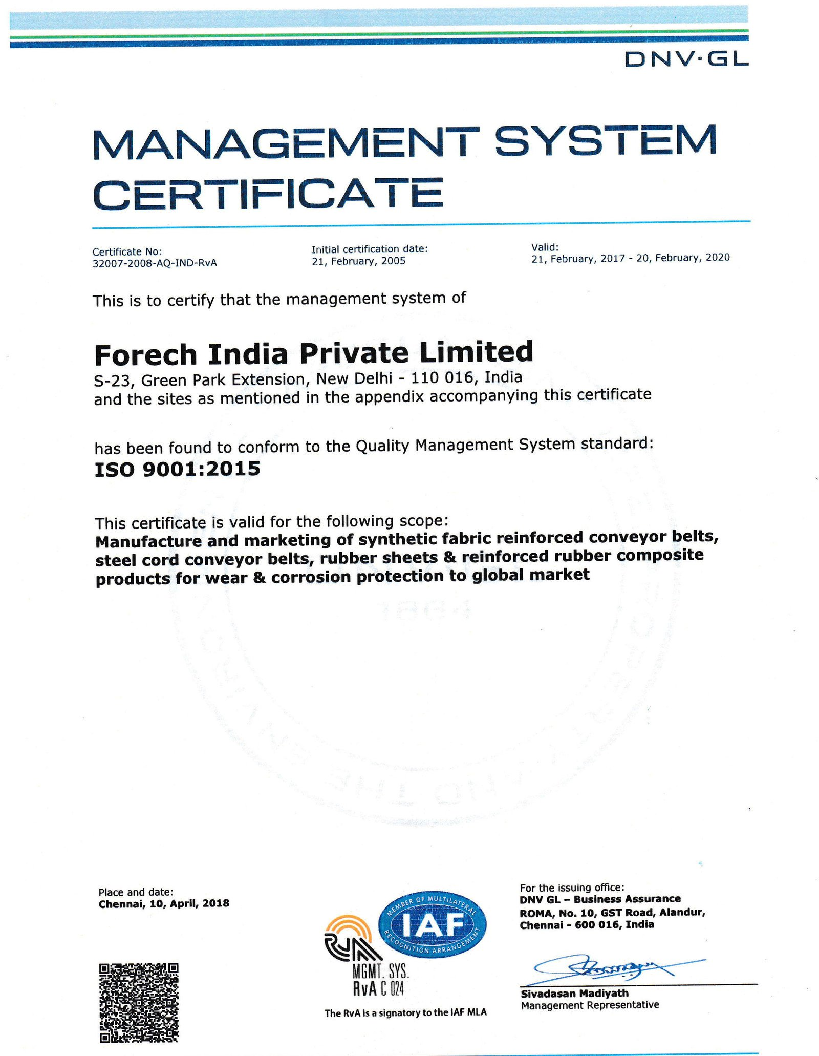 Scan of ISO 9001:2015 certificate