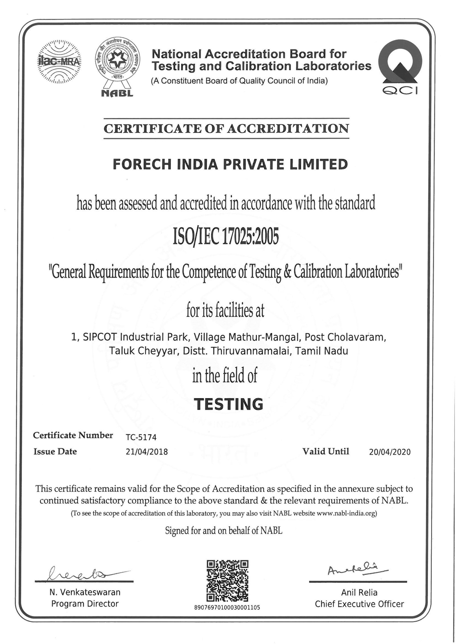 Scan of NABL certificate