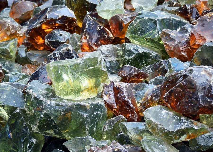 Recycled Garden Glass Rocks Chunks Colorful Recycling Junk 558974